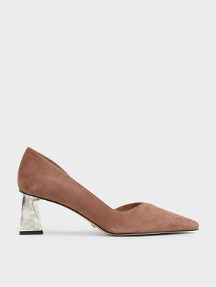 Charles & Keith Metallic Leather Chrome Heel Pumps
