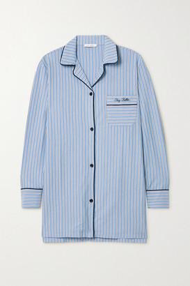 Ninety Percent Net Sustain Embroidered Striped Organic Cotton-jersey Nightdress - Blue