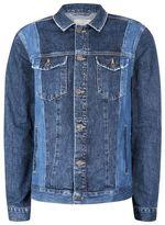 Topman Blue Panelled Denim Jacket