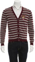 Psycho Bunny Embroidered Striped Cardigan
