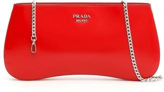Prada Brushed Chain Strap Clutch Bag