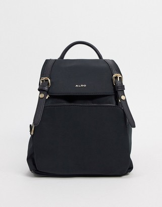 Aldo Rella backpack with gold detailing in black recycled polyester
