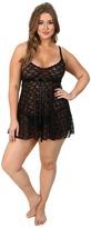 Hanky Panky Plus Size Peek-A-Boo Lace Babydoll w/ G-String Women's Underwear