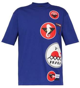 Prada Nautical-applique Cotton T-shirt - Mens - Blue