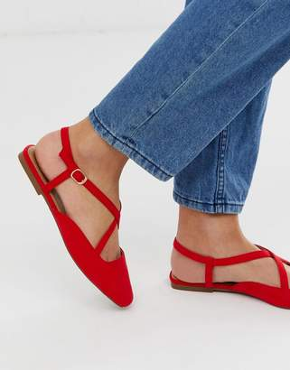 Asos Design DESIGN Loyal cross strap square toe ballet flats in red