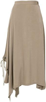 Y's Lace-Up Asymmetric-Hem Midi Skirt