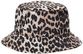 Ganni Leopard Print Recycled Tech Bucket Hat