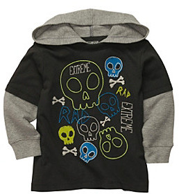Osh Kosh OshKosh BGosh Boys' 2T-7 Grey Long Sleeve Skulls Hooded Layered Tee
