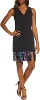 Vince Camuto Sequin Hem Sleeveless A-Line Cocktail Dress