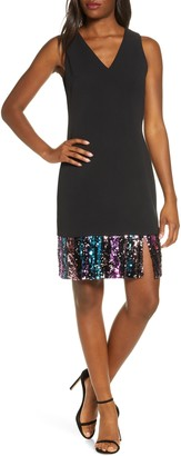 Vince Camuto Sequin Hem Sleeveless A-Line Cocktail Dress