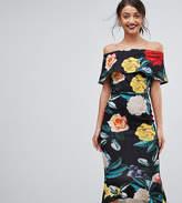 True Violet Tall Bardot Pephem Midi Dress In Bold Floral Print