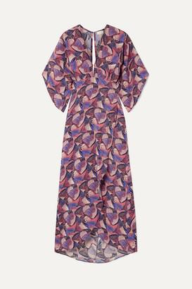Jaline - Kelly Open-back Printed Silk Crepe De Chine Midi Dress - Purple