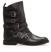 MANGO Outlet Punk Style Leather Ankle Boots