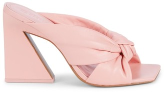 Mercedes Castillo Nora Square-Toe Knotted Leather Mules