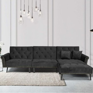 """Everly Quinn Kalessa 114"""" Wide Right Hand Facing Sleeper Sofa & Chaise Fabric: Black Microfiber/Microsuede"""