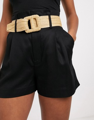 And other stories & high waist cotton shorts with rafia belt in black