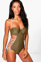 Boohoo Rhodes Lace Up Underwired Swimsuit