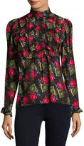 Anna Sui Women's Ruffled Rose Blouse