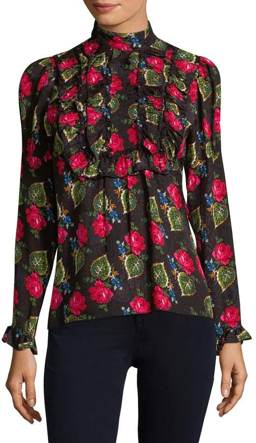 Anna Sui Women's Ruffled Rose Blouse