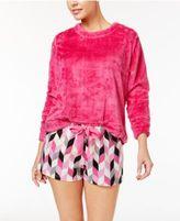 Hue Fleece Top and Printed Boxer Pajama Shorts Set