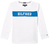 Tommy Hilfiger White Branded Long Sleeve Tee