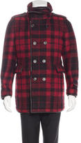 Burberry Leather-Trimmed Plaid Peacoat
