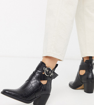 Truffle Collection wide fit heeled western buckle boots in black croc