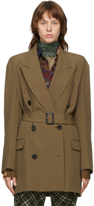 Dries Van Noten Khaki Belted Blazer