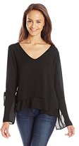 Lucy-Love Lucy Love Junior's Martini Long Sleeve Layered Romantic Peasant Top