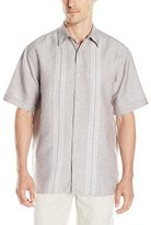 Cubavera Men's Short Sleeve Engineered Yarn Dye Dobby Woven Shirt