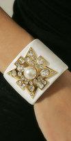 Wide Pearl Enamel Cuff Bracelet
