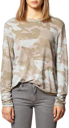 Zadig & Voltaire Willy Linen Camo-Print Long-Sleeve Tee