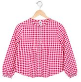 Petit Bateau Girls' Gingham Long Sleeve Top