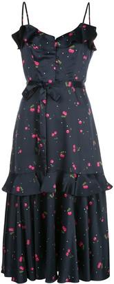 Milly Cherry Print Midi Dress