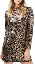 Topshop Animal Print Sequin Body-Con Dress
