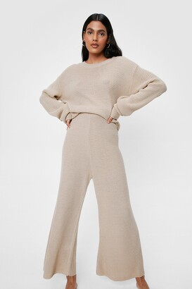 Nasty Gal Womens Love You Culotte Knit Jumper and Trousers Lounge Set - White - S