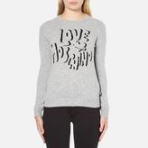 Love Moschino Women's Slogan Jumper Grey Melange