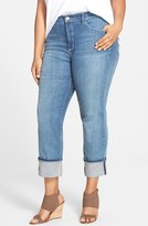 NYDJ Plus Size Women's Loreena Stretch Roll Cuff Crop Boyfriend Jeans