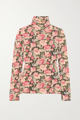 Paco Rabanne Floral-print Stretch-jersey Turtleneck Top - Pink