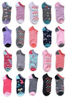 Wonder Nation Girls Socks, 20 Pack No Show Fun Socks Sizes S - L