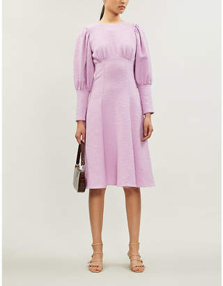 N. DUO Violet puff-sleeve cotton-blend midi dress