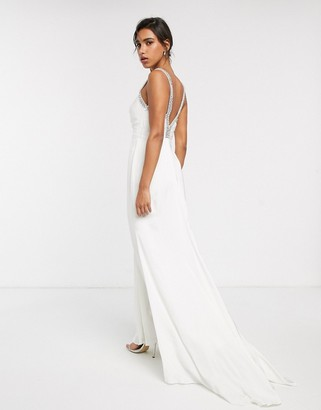 Asos Edition EDITION wedding dress with V back and crystal strap detail-White