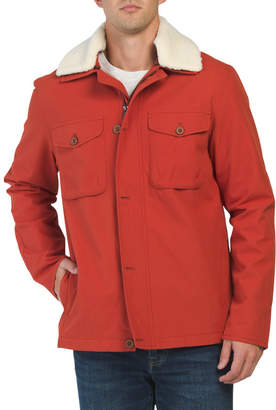 Sherpa Collar Twill Stats Jacket