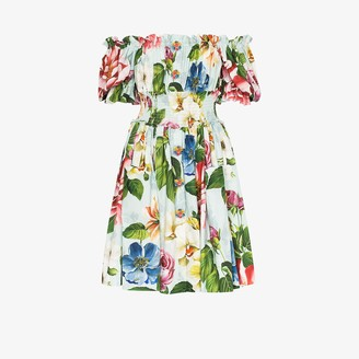 Dolce & Gabbana Floral Print Off-The-Shoulder Mini Dress