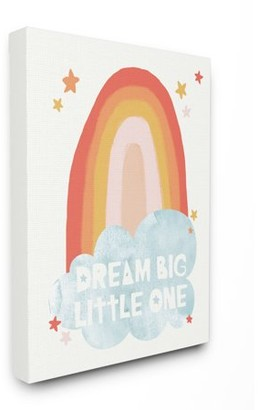 The Kids Room By Stupell Dream Big Little One Mod Orange Rainbow with Blue Cloud Canvas Wall Art