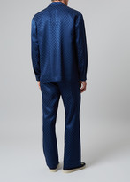 Meng MENG Men S Navy Silk Geometric Jacquard Pajama Set