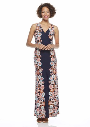 London Times Women's Petite Sleeveless V Neck Side Shirring Maxi Dress