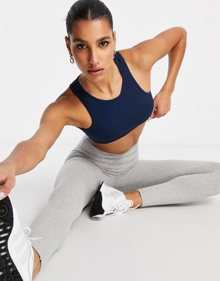 South Beach fitness seamless ribbed high neck crop top in navy