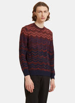 Missoni Zigzag Intarsia Knit Crew Neck Sweater In Burgundy