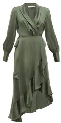 Zimmermann Espionage Silk-charmeuse Wrap Dress - Womens - Green